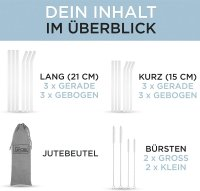 Glasstrohhalme - Set mit 12 Stück + 4 Bürsten +...